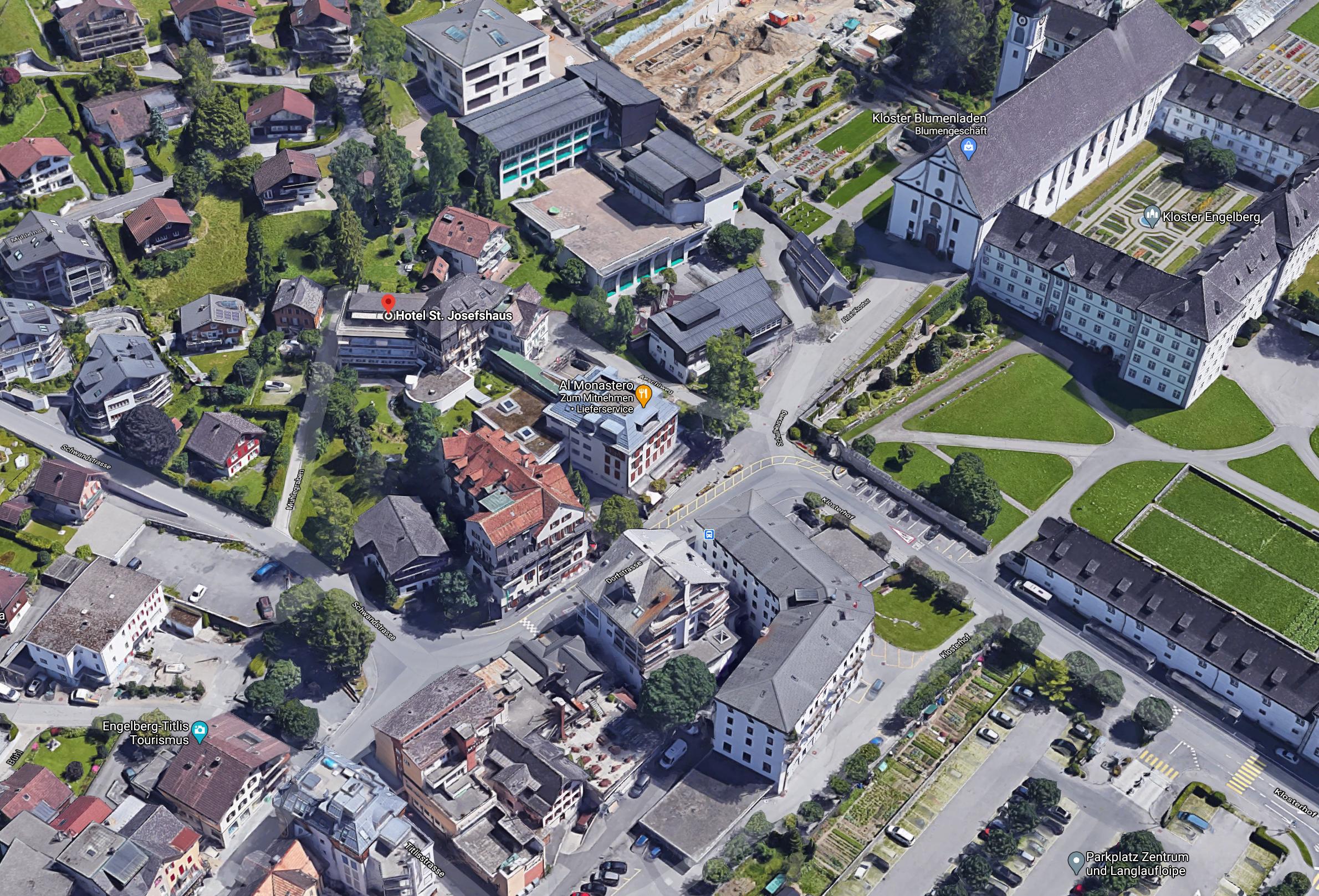 Das Josefshaus aus der Vogelperspektive.